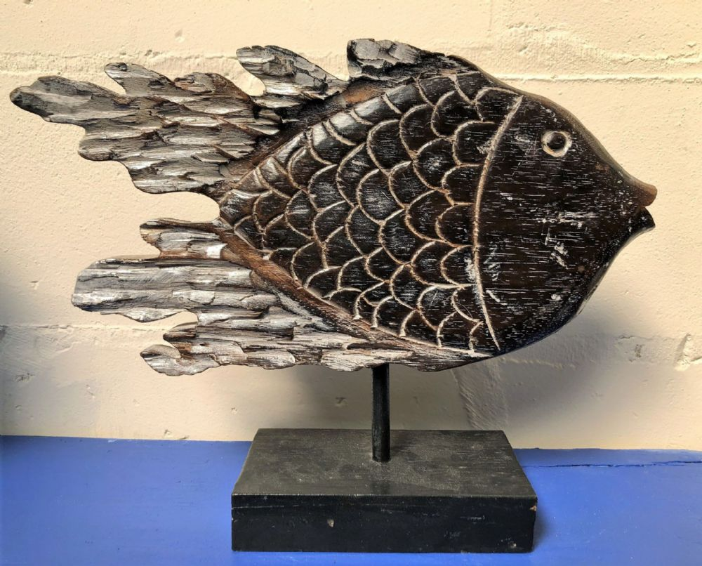 Big Fish XL Wooden Hand Carved Contemporary Ornament on Stand